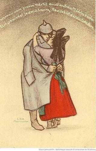 Wenn wir unsre grauen Mäntel Um ein deutsches Mädchen Hänken Ei, so schwindet jeder Schmerz, Redlich ist das deusche Herz, Lika Marowska (1889-1967), Mohr & Lüdke (Strassburg), 1918 http://www.numistral.fr/ark:/12148/btv1b10222987c