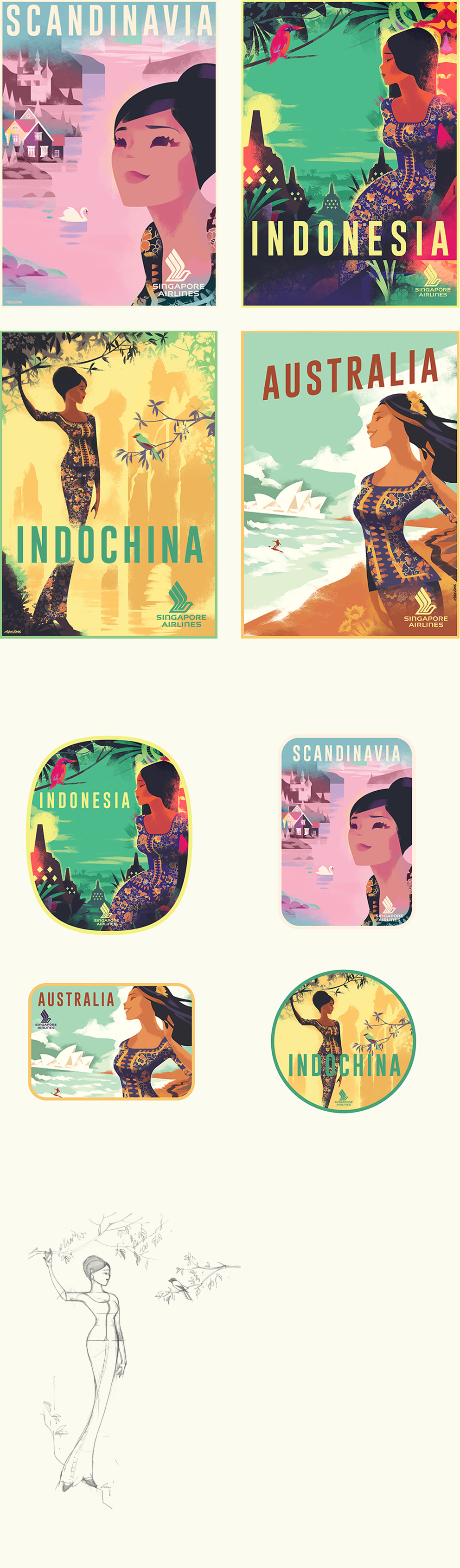 Singapore Airlines Illustrations (con imágenes