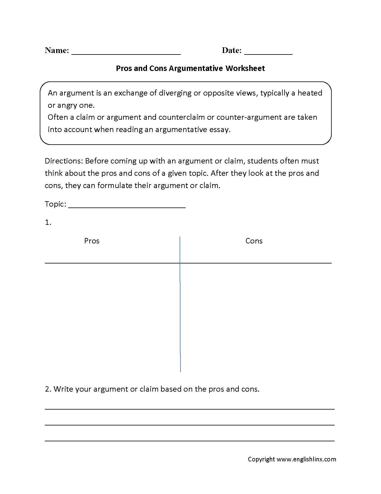 Pros And Cons Argumentative Worksheets