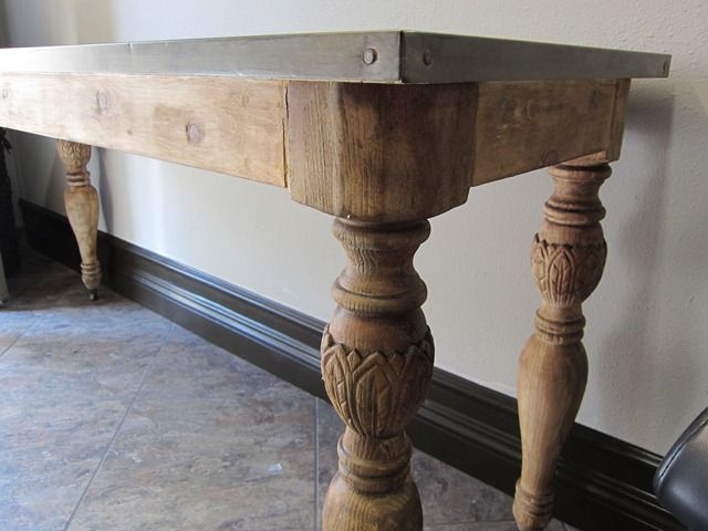 From Salvaged Legs To Zinc Topped Table Via Bella Inspirations Blog
