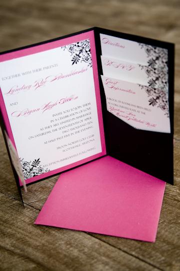 Hot Pink And Black Pocket Invitations   Pocket Fold Wedding Invitations