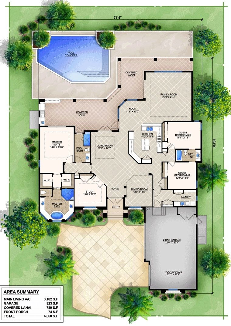 Epic mediterranean house floor plans with pools used for Floor plan landscape