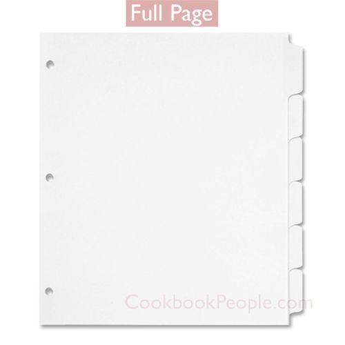 Full Page Cookbook Tab Dividers - 6 Tabs Ea