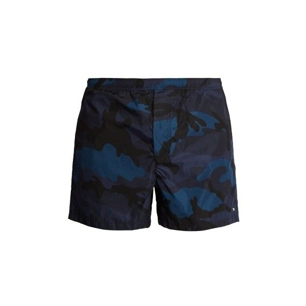 936bd61c53 Valentino Camouflage-print swim shorts ($495) ❤ liked on Polyvore featuring  men's fashion