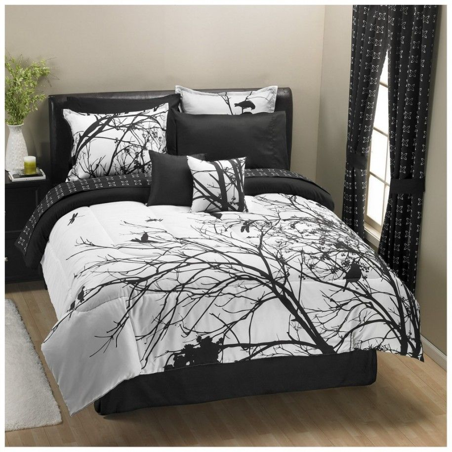 Fascinating Black And White Comforter Tree Pattern Cotton
