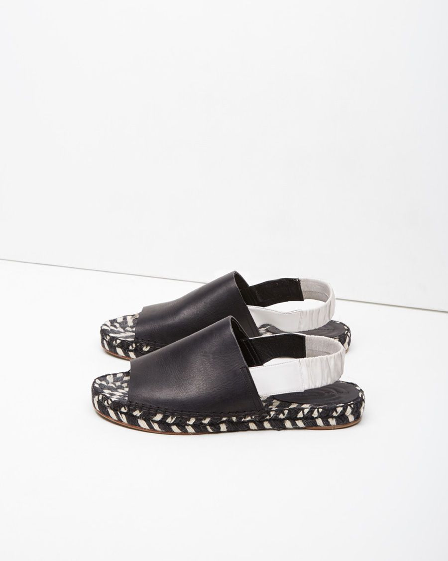 Proenza Schouler white and black raffia and leather flat sandals