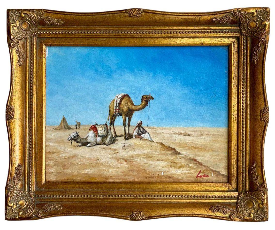 Wundersch�nes �lgem�lde einer W�stenlandschaft mit Kamelen und Beduinen. Wie auf den Fotos zu sehen, eine hochwertige und dekorative Arbeit im Antik-Stil. Durch aufwendige Handarbeit wurden die �lgem�lde traditionell gerahmt. Die Leinwand ist auf einen Keilrahmen aus Holz aufgezogen, umrandet von einer Rahmung. Die Ma�e inklusive Rahmen lauten wie folgt je: 55 x 45 x 6cm (B x H x T). Das Gewicht betr�gt 2kg.�