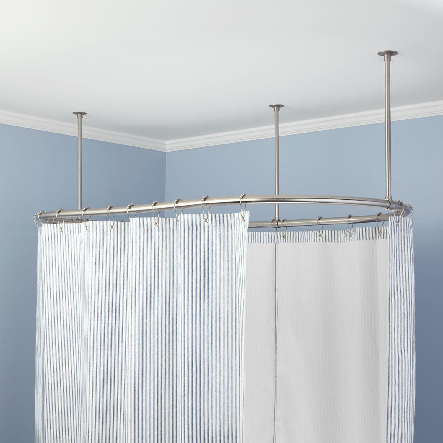 Oval Curtain Rod System 4 Multiple Backdrops Clawfoot Tub Shower