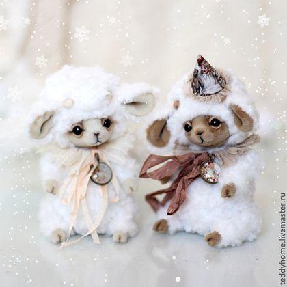 Мишки Тедди ручной работы. Ярмарка Мастеров - ручная работа овечки Барни и Бомбина. Handmade.