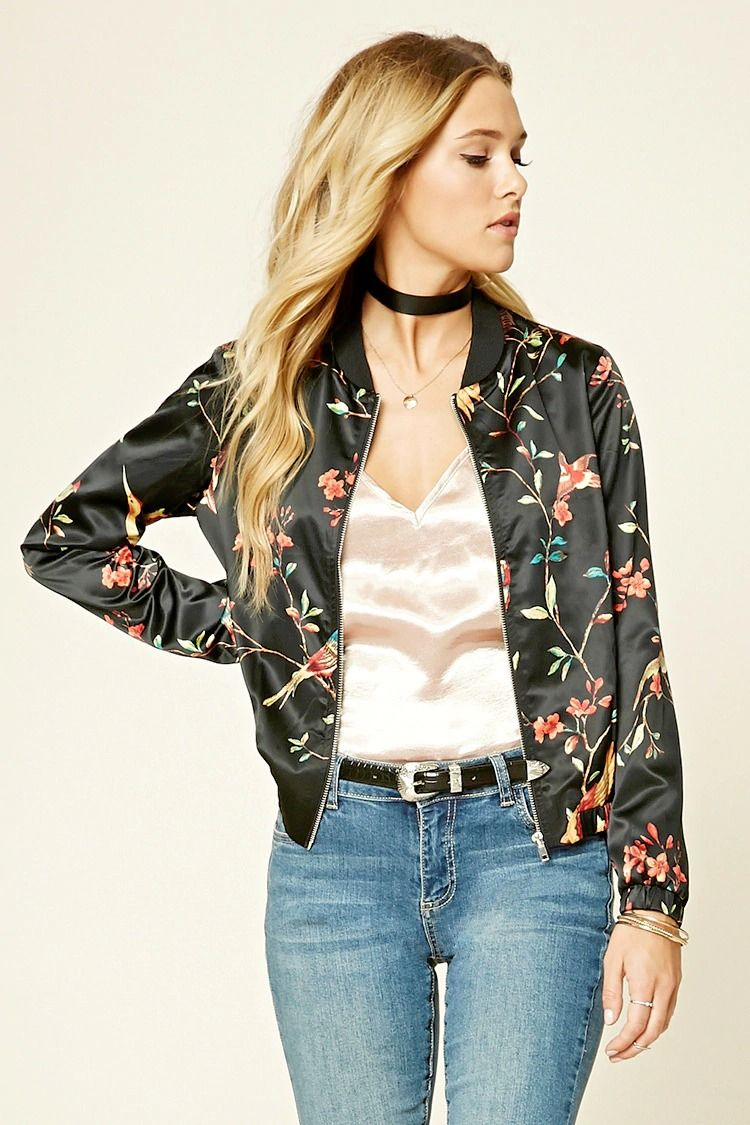 9cacb88121c837 Forever 21 Contemporary - A satin bomber jacket featuring a bird and  foliage print, zipper front, long sleeves, an elasticized hem, and a ribbed  trim.