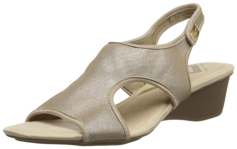Anne Klein Sport Women's Olimpia Fabric Wedge Sandal,Black