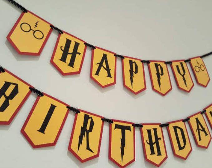harry potter happy birthday banner- harry potter birthday party