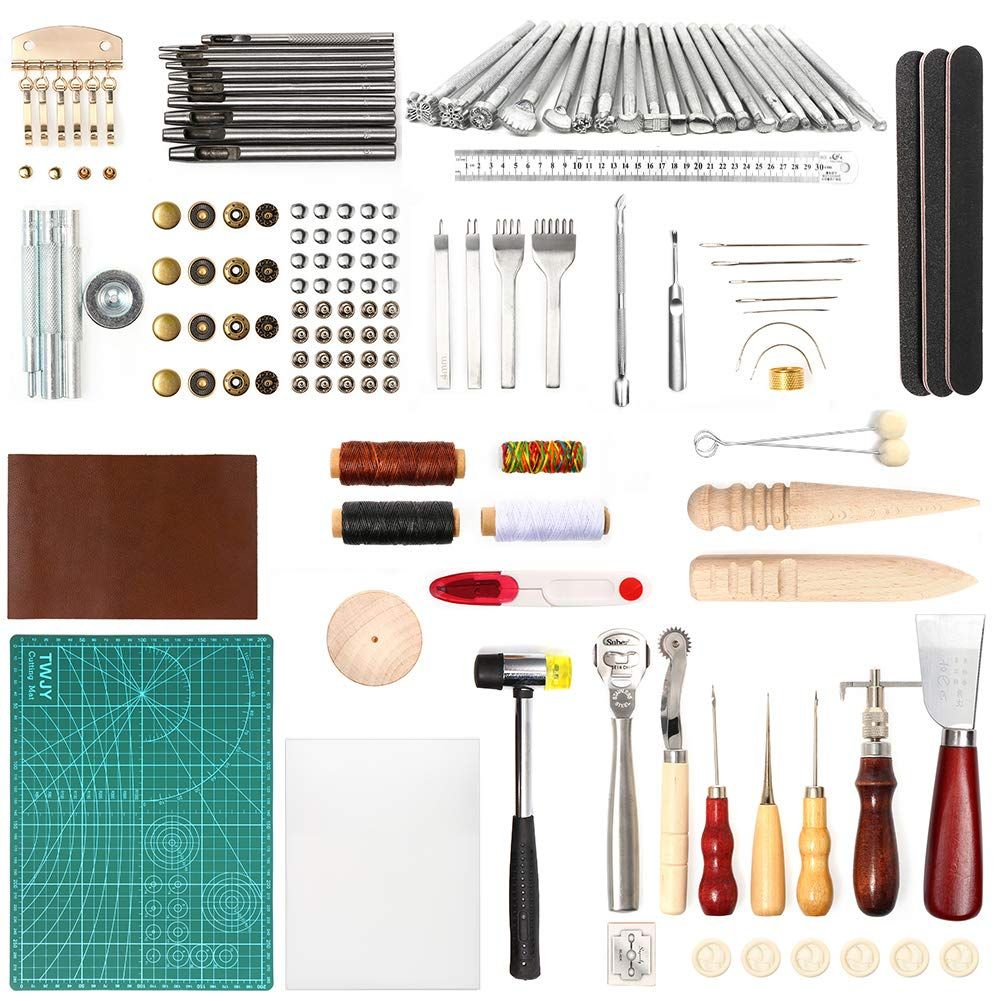 Lamptop 92pcs Leather Crafting Tools And Supplies Leather Diy Hand