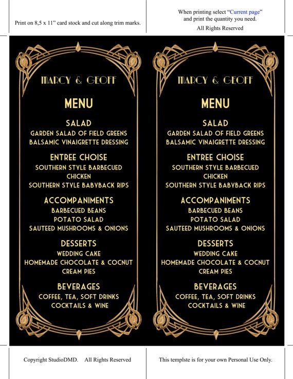 Printable Menu Card Template Great Gatsby Style Art by StudioDMD - sample wine menu template