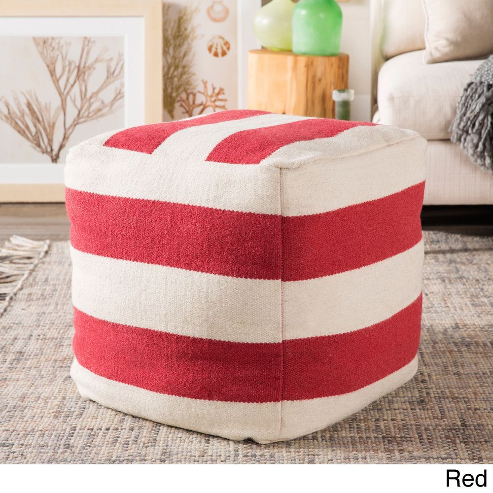 Hand Crafted Striped 18-inch Square Pouf (Red), Size Specialty (Wool)