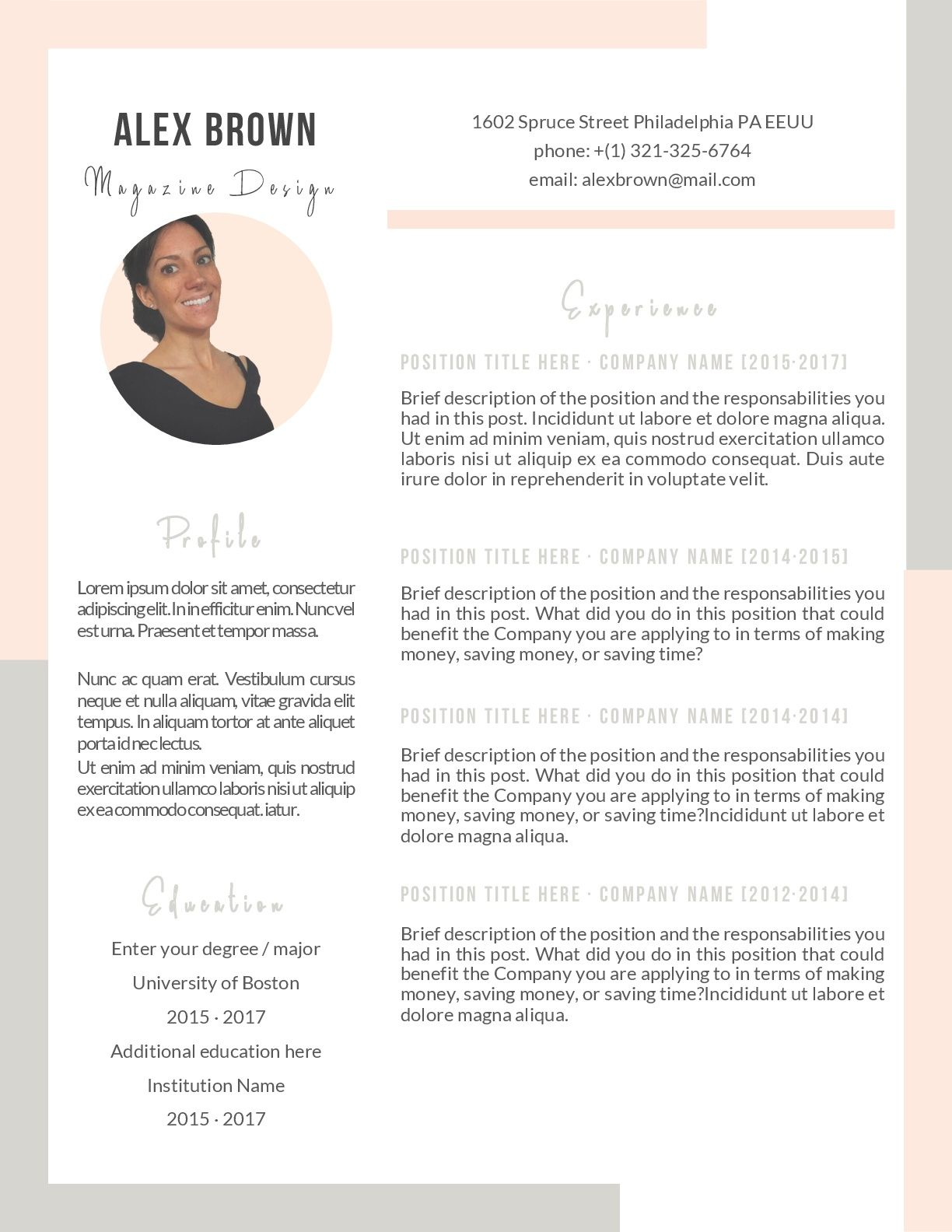 Perfect template resume for anyone looking for a job