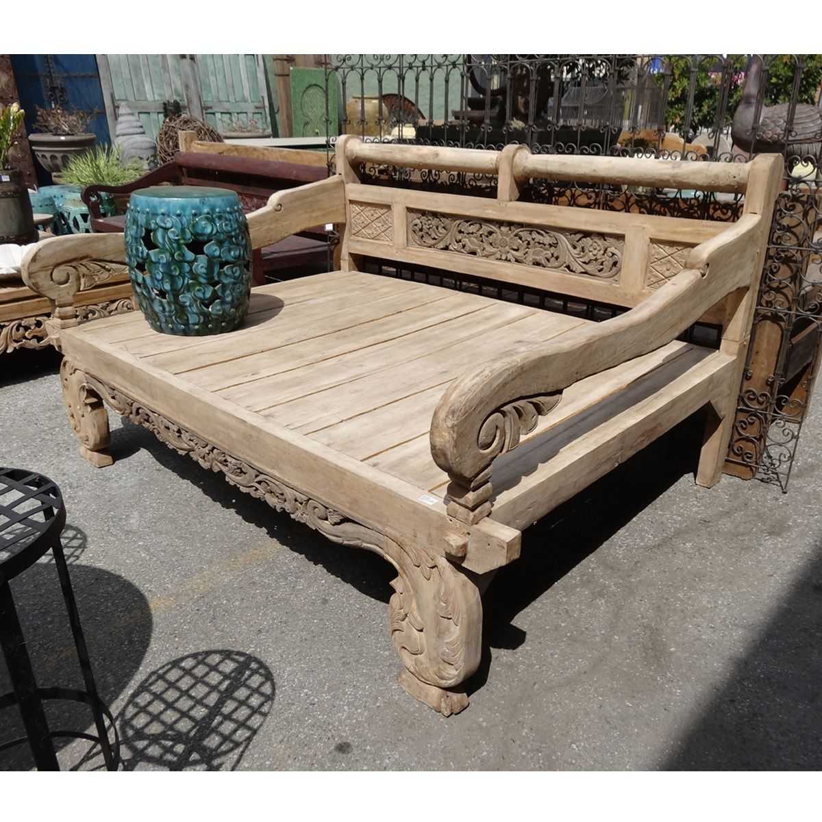 Balinese teak carved daybed. Custom cushions available in your choice of  indoor or outdoor fabric. - Balinese Teak Carved Daybed. Custom Cushions Availabl… Colonial