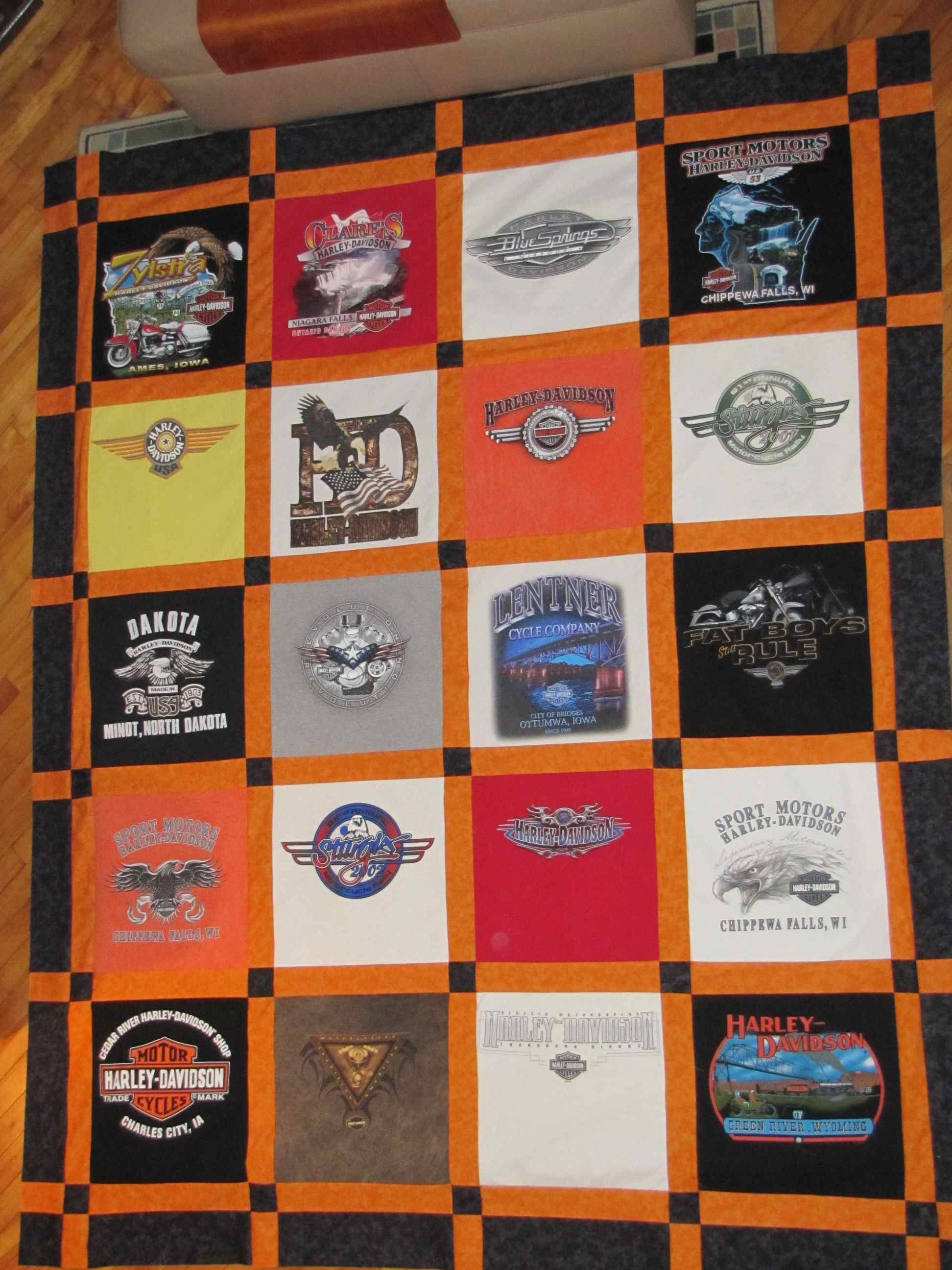 Harley T-Shirt Quilt | Brown Paper Packages Tied up in String ... : running t shirt quilt - Adamdwight.com