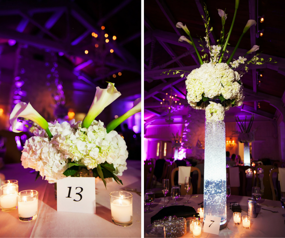 Tall white hydrangea and lily wedding centerpiece flowers