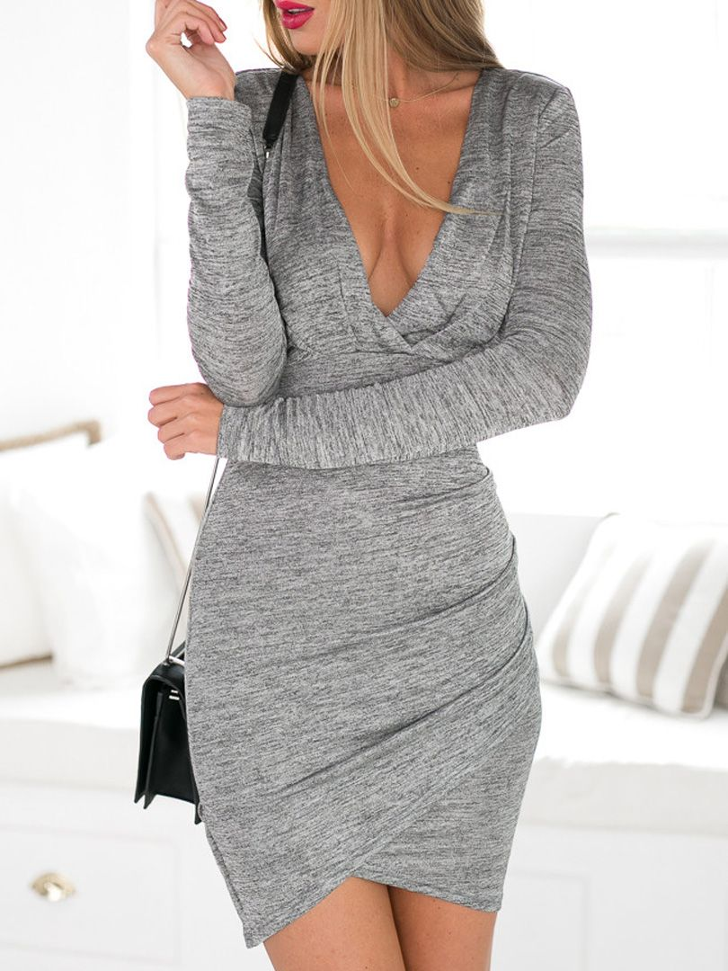 872c03a5caf Gray Plunge Neck Ruched Wrap Front Backless Texture Bodycon Dress ...