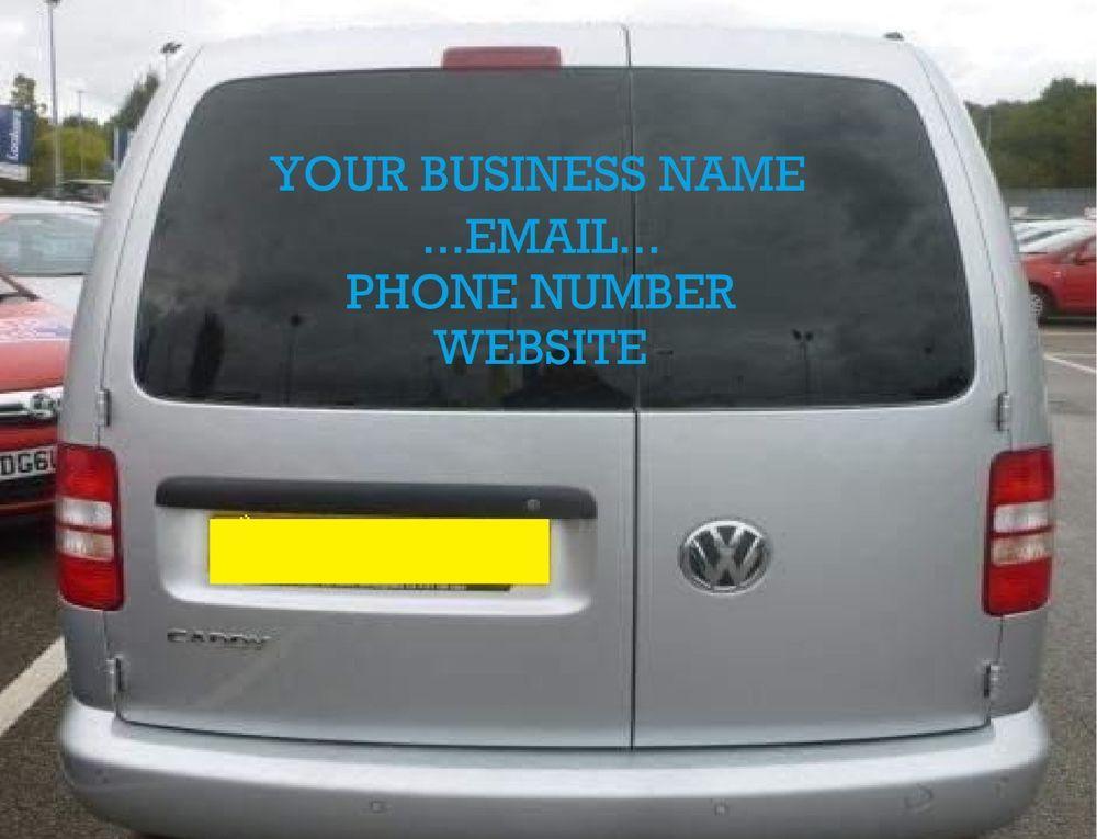 Personalised business rear window car van vinyl signs stickers decalexternal
