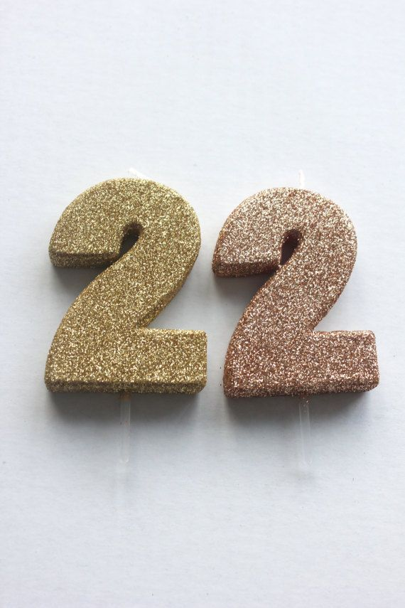 Sale 2 GLITTER ROSE GOLD Candle Number Birthday Cake Candles Sweet Sixteen 16th 18th 21st 30th 50th