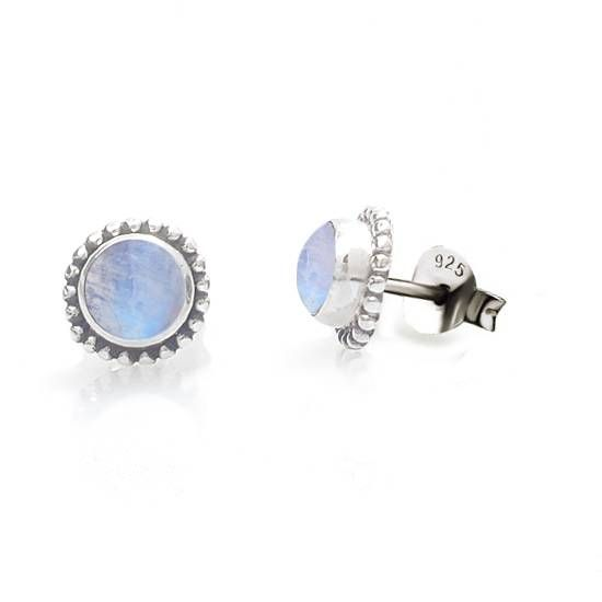Brinco stud zircônia azul céu prata 925