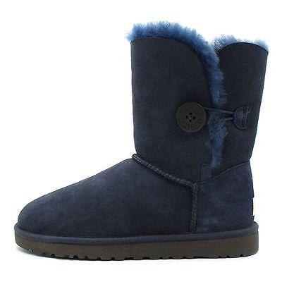 2ce13a9d3c7 Ugg Bailey Button Womens 5803-NAV Navy Blue Sheepskin Boots Shoes ...