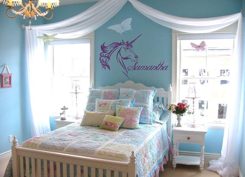 Pretty Teenage Girl Bedrooms custom name text unicorn vinyl wall art sticker decal | vinyl wall