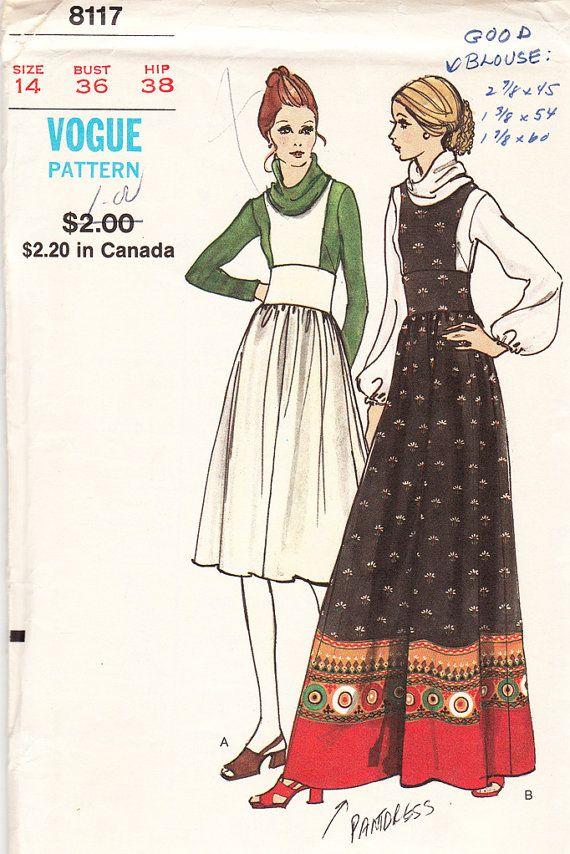 Vintage Misses Jumper, Pantjumper, And Blouse - 1970s Vogue Pattern ...