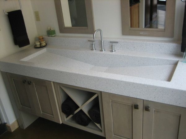 Gorgeous Corian Bathroom Countertops With Sink For Large Basin Vanity Unit Including Double Handle Pul Trough Sink Bathroom Trough Sink Simple Bathroom Remodel Bathroom sink countertop one piece
