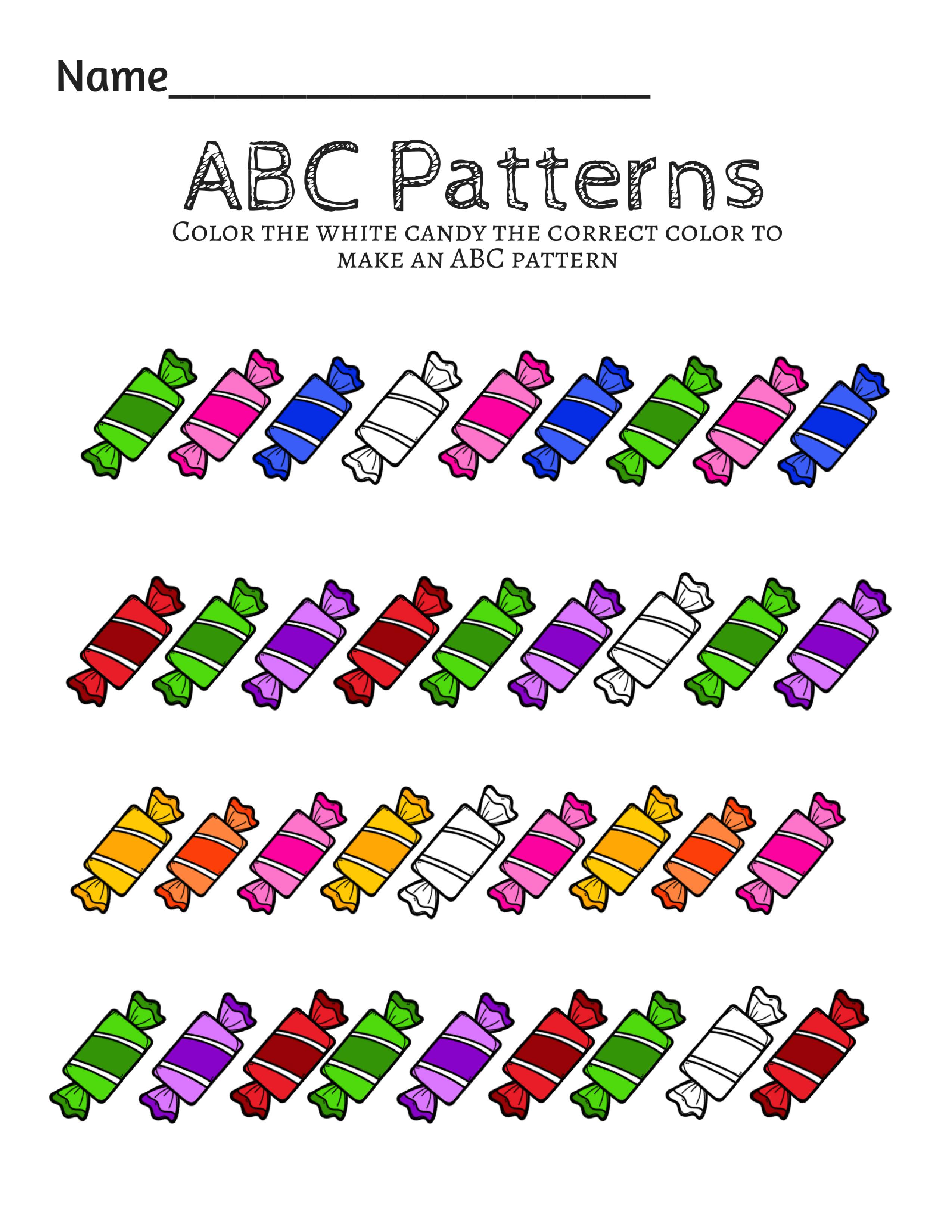 Pattern Worksheet For Prek