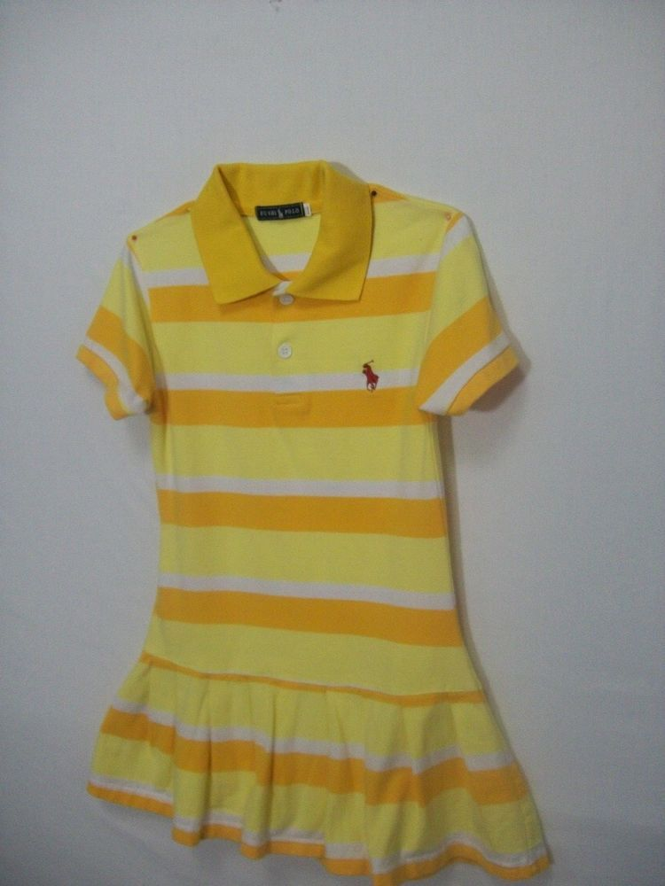 40f05e116 Fushi Polo Dress Size XLLL yellow  gold  white Stripes Tennis dress 100%  cotton  FUSHIPOLO  TENNISDRESS  Everyday