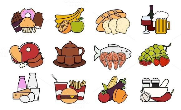 Food and drinks. 12 icons. Vector @creativework247