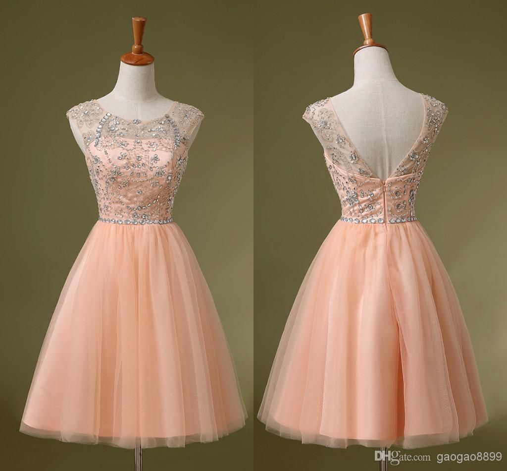 8e81710799d Charming Peach Pink Crystal Homecoming Short Prom Dresses Homecoming Dresses