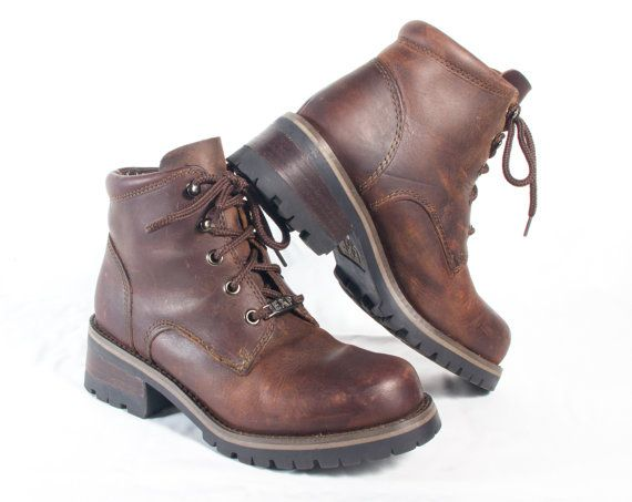 e3da5c6e13b VTG 90's Brown Leather Hiking Boots size 6 1/2 Womens Ankle High ...