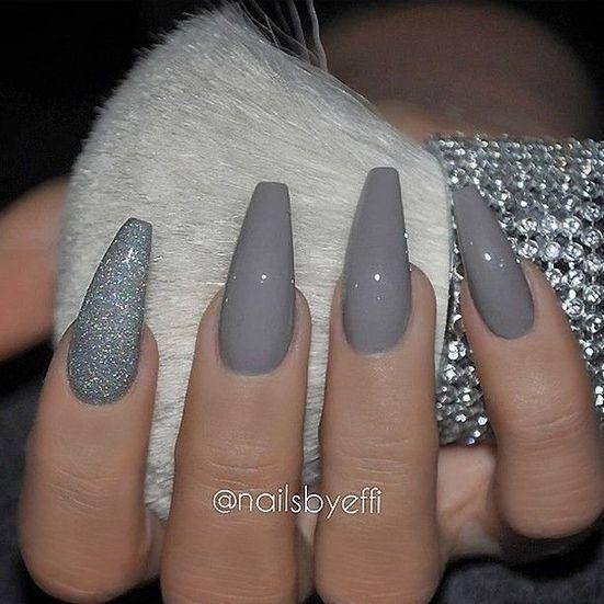 29 Ideas Gray Nails Matte Coffin Short 14 Prom Nails Matte Nails Design Gorgeous Nails