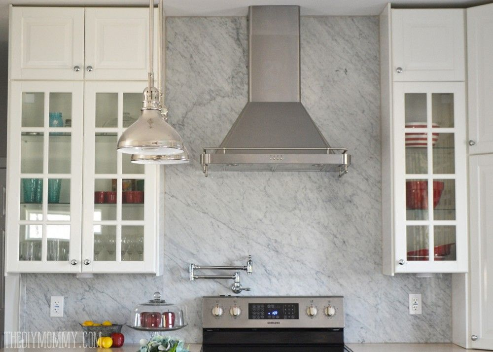 A Marble Panel Backsplash For Our Diy Kitchen Marble Backsplash Kitchen White Marble Backsplash Marble Backsplash