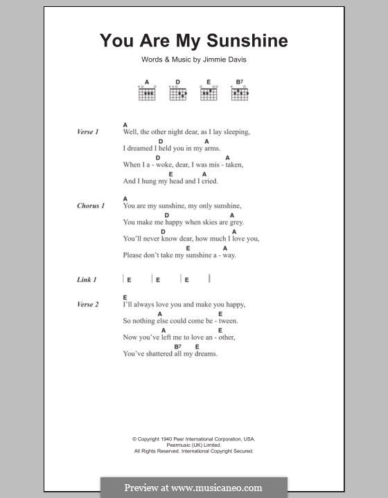 How To Play You Are My Sunshine On Guitar : sunshine, guitar, Sunshine, Davis, Sunshine,, Lyrics, Chords