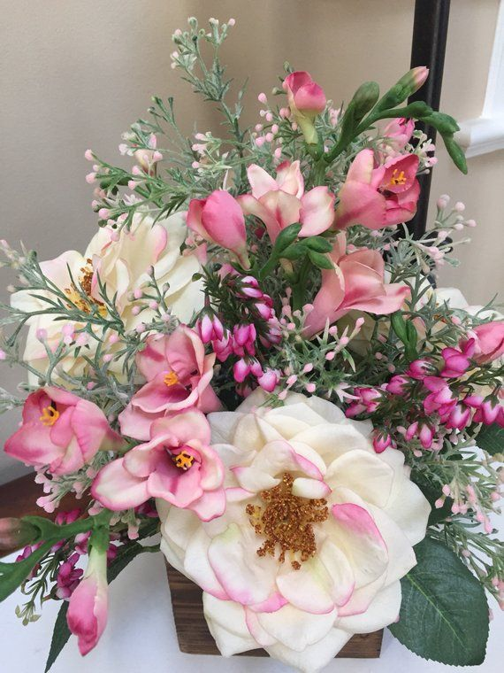 Real Touch Roses Farmhouse Arrangement French Country Centerpiece Pink Rose A Beautiful Flower Arrangements Rose Arrangements Artificial Flower Arrangements