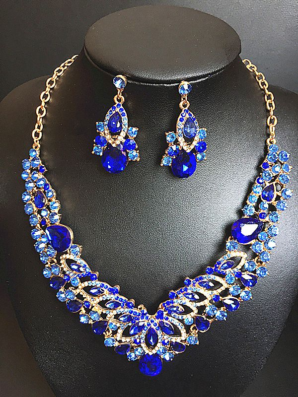 2016 New African Gold Plated Jewelry Set Dubai Crystal Choker ...