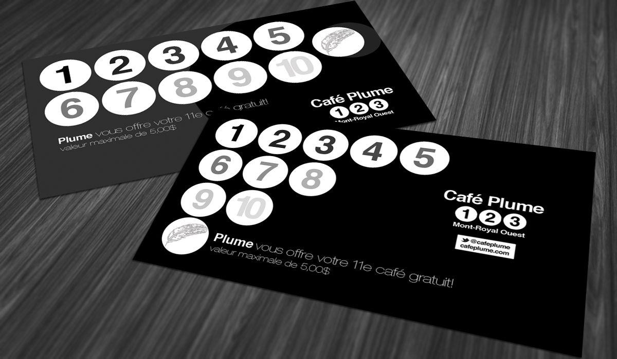 Cafe Plume Loyalty Cards 2b Creative Design Loyalty Card Design Stamp Card Design Loyalty Card