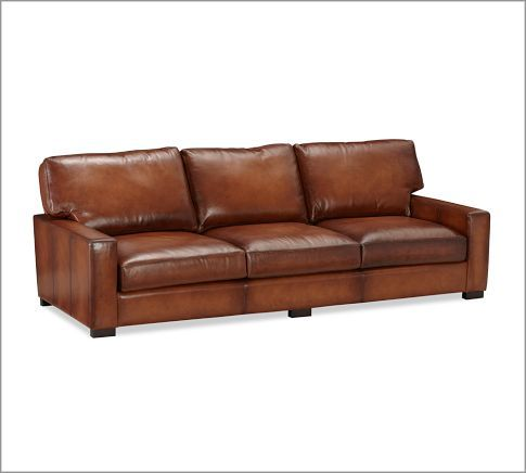 Turner Leather Sofa Pottery Barn Straight Back And Arms Give This Modern Sofa Street Cred But It Still Looks Comfy Leather Sofa Sofa Metal Dining Chairs
