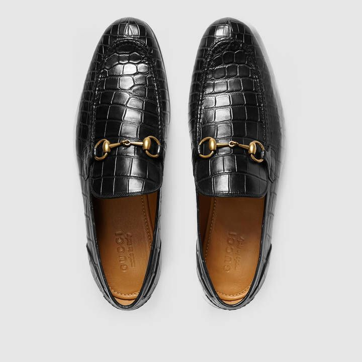 Shop the Gucci Jordaan crocodile loafer by Gucci. The Gucci Jordaan leather  loafer designed with an elongated toe and Horsebit detail.