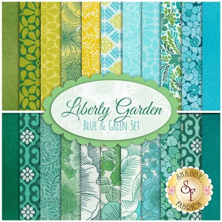 Liberty Garden 22 FQ Set - Blue & Green Set by Dover Hill for ...