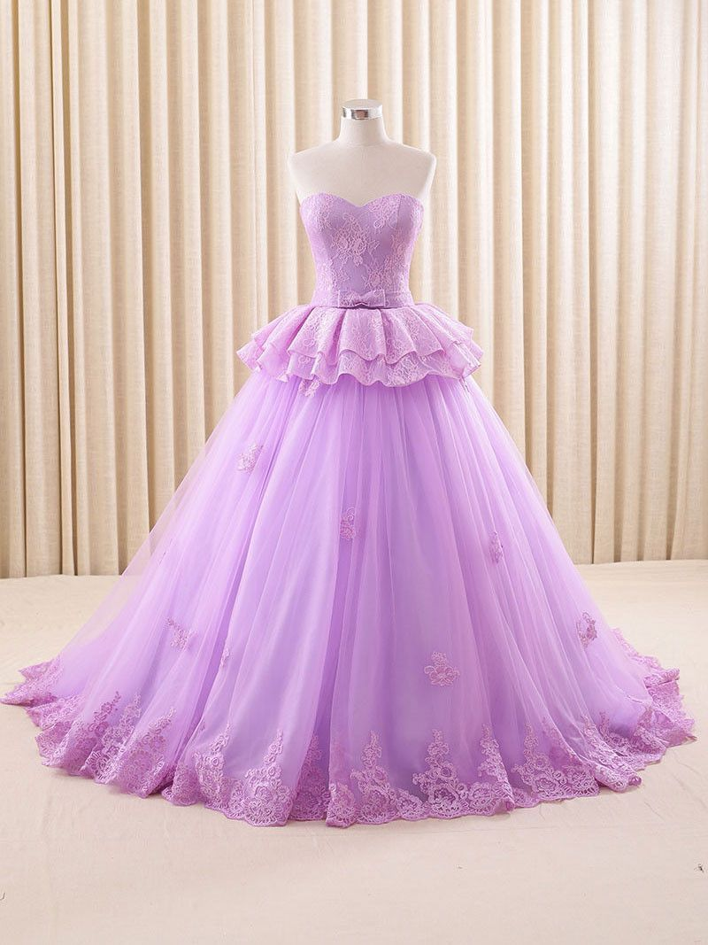 Strapless Purple Lace Ball Gown Formal Evening Gown | Pinterest ...
