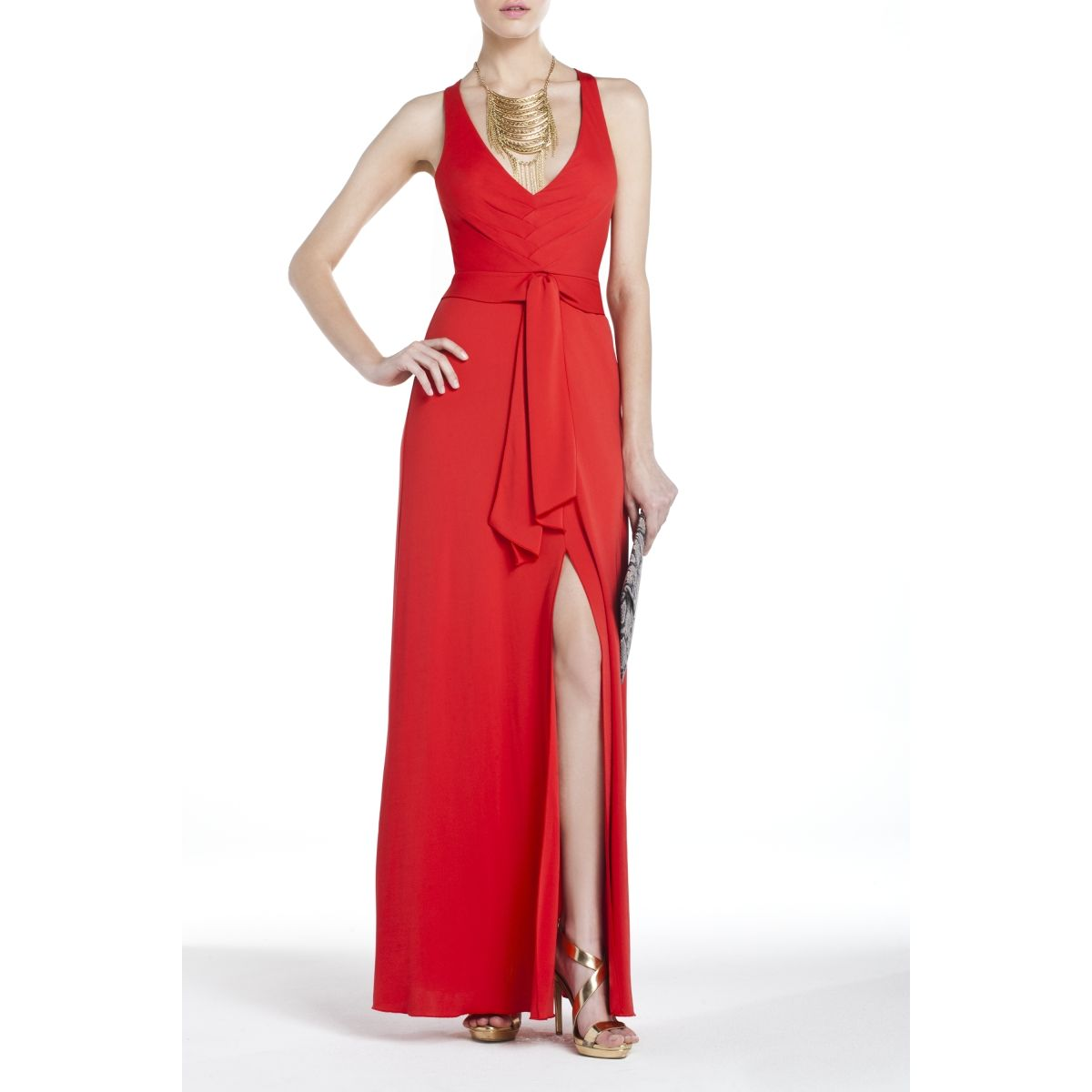Love the slit. Show \'em legs. Sophia Draped Evening Gown/BCBG Max ...