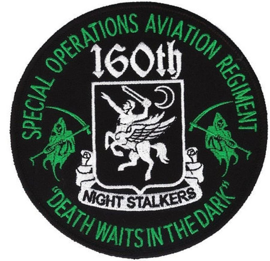 """Large 5"""" Diameter - 160th SOAR patch - Night Stalkers - Death Waits in the Night - US Special Forces - Task Force Ranger, 10th Mountain"""