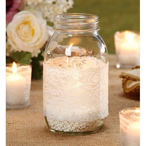 #lace mason jars #burlap and lace mason jar #wedding decorations #mason jars http://www.bliss-bridal-weddings.com/#!product/prd3/3555117711/12-pack-of-lace-mason-jars