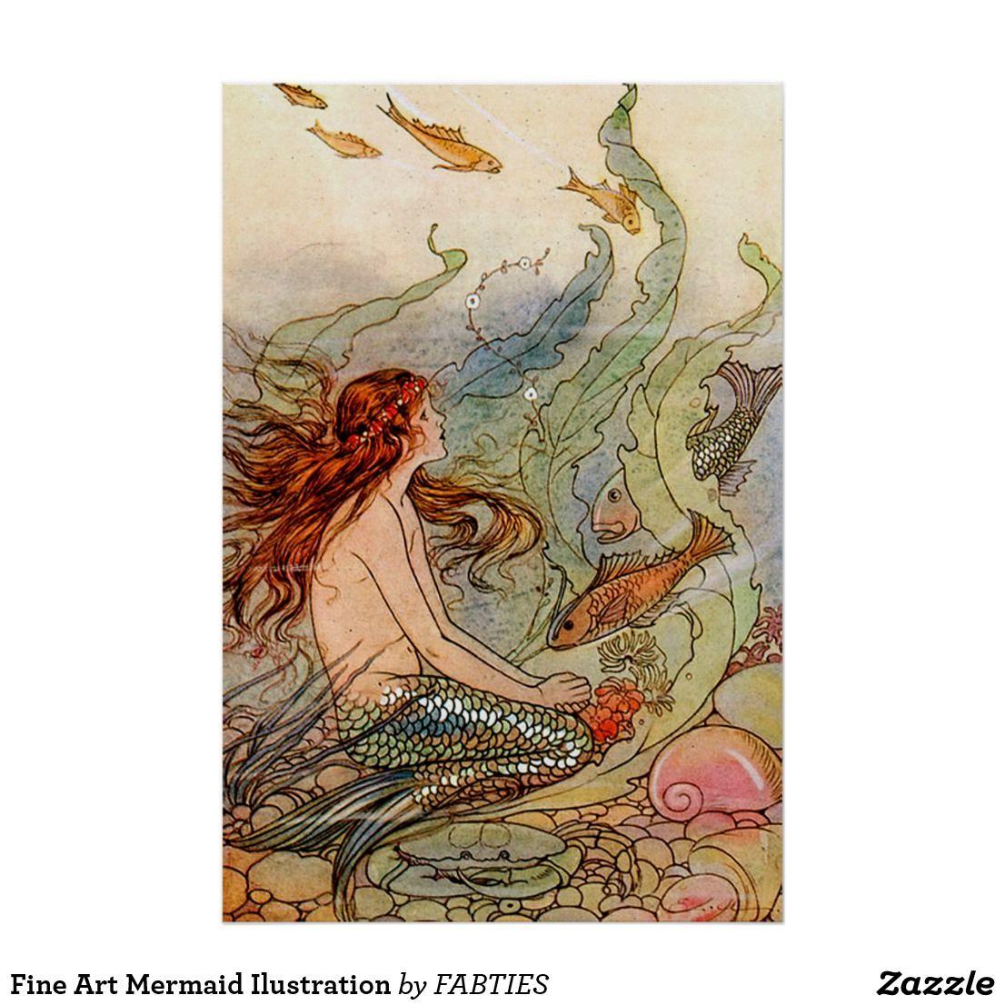 Fine art mermaid ilustration poster vintage